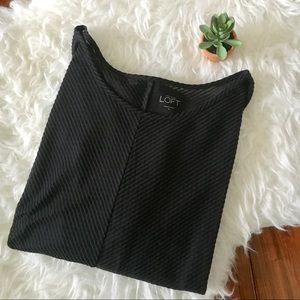 •LOFT• Black Sheer Textured 3/4 Length Tee